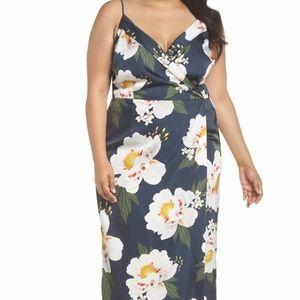 Cooper St | Pascala Floral Satin Faux Wrap Dress